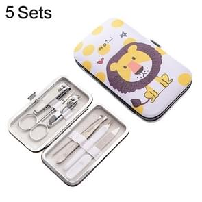 5 Sets 7 in 1 Stainless Steel Nail Care Clipper Pedicure Manicure Kits with Lion Pattern Case