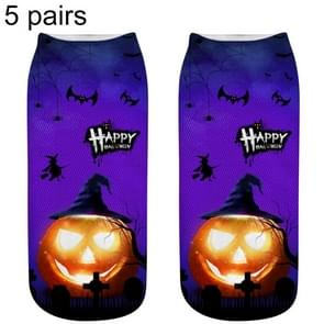 5 Pairs Halloween Pattern 3D Printed Socks, A, Unisex, Size: 33~39