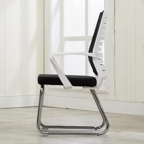 Home Leisure Computer Chair Office Staff Conference Chair White Frame Fixed Chair (Black)