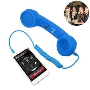 3.5mm Plug Mic Retro Telephone Anti-radiation Cell Phone Handset Receiver(Blue)
