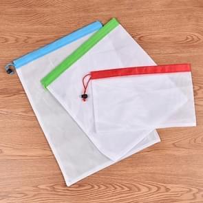 10 PC's dubbel gestikte sterkte herbruikbare Fruit Sandwich Pouch Mesh opslag zakken  formaat: 30 cm x 43 cm  willekeurige kleur levering