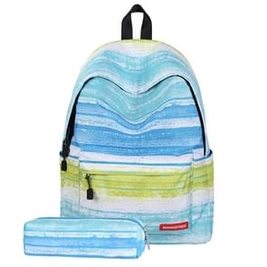 Green Stripe Pattern Print Travel Backpack School Shoulders Bag with Pen Bag for Girls, Size: 40cm x 30cm x 17cm