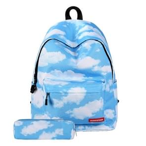 Cloud Pattern Print Travel Backpack School Shoulders Bag with Pen Bag for Girls, Size: 40cm x 30cm x 17cm