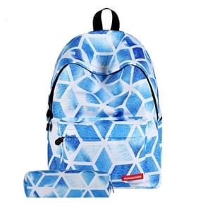 Diamond Lattice Pattern Print Travel Backpack School Shoulders Bag with Pen Bag for Girls, Size: 40cm x 30cm x 17cm