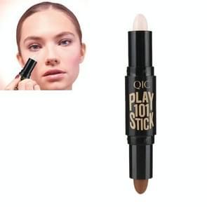 QIC cosmetische water bestendige double-end Highlighter en Shimmer stick concealer gezicht make-up whitening concealer geretoucheerde gezicht silhouet