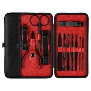 12 in 1 Advanced Stainless Nail Care Clipper Pedicure Manicure Kits with Leather Case (Red+Black)