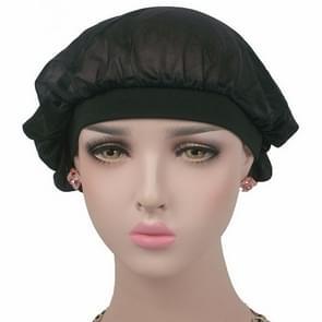 Kokosnoot slaapmutsje airconditioning Cap lange haren Cap brede Band satijn Bonnet (zwart)