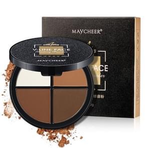 MAYCHEER V-Line gezicht 4 kleuren gezichts make-up markeerstift Bronzer arcering poeder palet cosmetische (donkerbruin)