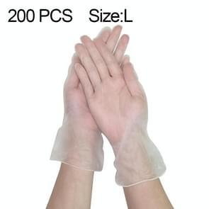 200 PCS dikker disposable clear food grade PVC poedervrije isolatie waterdichte handschoenen  grootte: L