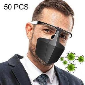 50 PCS Face-Shielding Beschermende Gezichtsmasker Anti-Fog Anti-Splash Anti-virus Stofdichte Isolerende Face Shield (Zwart)