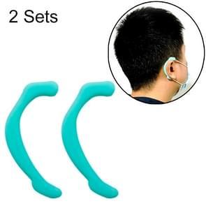 2 Sets herbruikbare Gezichtsmasker Zachte Siliconen oorhaak onzichtbare oorkappen (Groen)