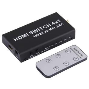 HDMI 4x1 Multi-function Switcher Support ARC / MHL / Audio Separation HDMI 4K*2K Converter for PS4 PC Laptop to Super HDTV, with Remote Control