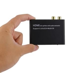 HDMI 1x2 Splitter met Audio Extractor, ondersteunt 5.1 en 2 kanaals output, 4Kx2K, 3D
