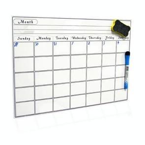 Magnetische maandelijkse planner koelkast magneet PET magnetische zachte whiteboard  grootte: 29 7 cm x 42cm (Wit)