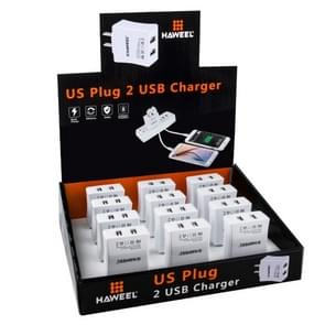 12 PCS HAWEEL 2 USB Ports Max 3.1A Travel Charger Kit with Display Stand  Box, US Plug, For iPhone, Galaxy, Huawei, Xiaomi, LG, HTC and other Smartphones