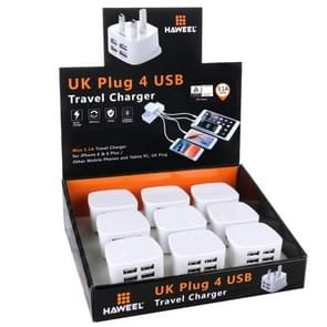 [BS Certification] 9 PCS UK Plug HAWEEL 4 USB Ports Max 3.1A Travel Charger Kits with Display Stand Box, For iPhone, Galaxy, Huawei, Xiaomi, LG, HTC and other Smartphones