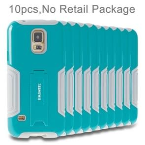 10 PCS HAWEEL for Galaxy S5 / G900 Dual Layer TPU Plastic Combo Case with Kickstand, No Retail Package(Baby Blue)