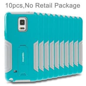 10 PCS HAWEEL for Galaxy Note 4 / N910 Dual Layer TPU Plastic Combo Case with Kickstand, No Retail Package(Baby Blue)