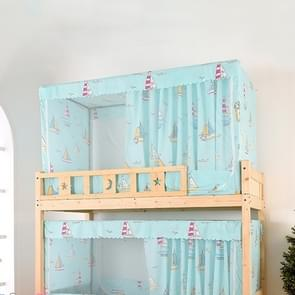 Students Dormitory Blackout Cloth Zipper Mosquito Net for 90cm Width Upper Berth(Light Blue Sailboat)