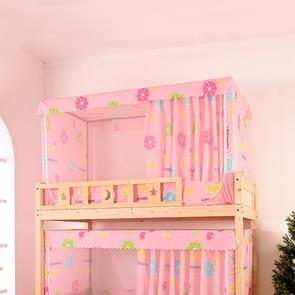Students Dormitory Blackout Cloth Zipper Mosquito Net for 90cm Width Upper Berth (Pink Fruits)