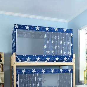 Students Dormitory Blackout Cloth Zipper Mosquito Net for 90cm Width Upper Berth (Dark Blue Star)