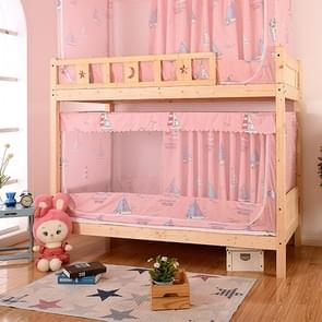 Students Dormitory Blackout Cloth Zipper Mosquito Net for 90cm Width Lower Berth (Pink Sailboat)