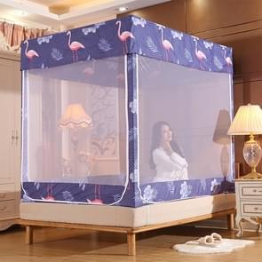 Vierkante plafond rits Mosquito netto encryptie rits drie deur verdediging mug voor 1.5 m bed met anti-slip touw (grijs blauw)