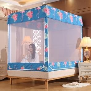 Vierkante plafond rits Mosquito netto encryptie rits drie deur verdediging mug voor 1 8 m bed met anti-slip touw (donkerblauw)