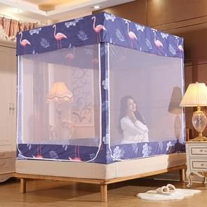 Vierkante plafond rits Mosquito netto encryptie rits drie deur verdediging mug voor 1 8 m bed met anti-slip touw (grijs blauw)