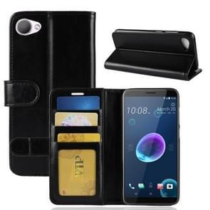 Voor HTC Desire 12 PU + TPU Crazy Horse textuur horizontale Flip lederen draagtas met portemonnee & houder & kaart van Slots(Black)