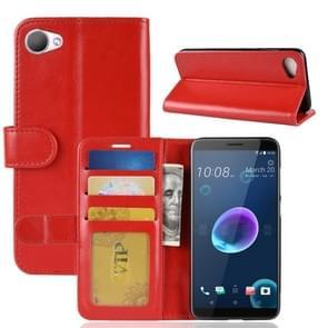 Voor HTC Desire 12 PU + TPU Crazy Horse textuur horizontale Flip lederen draagtas met portemonnee & houder & kaartsleuven (rood)