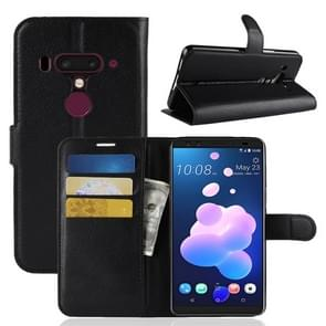 Litchi Texture Horizontal Flip Leather Case for HTC U12+, with Wallet & Holder & Card Slots(Black)