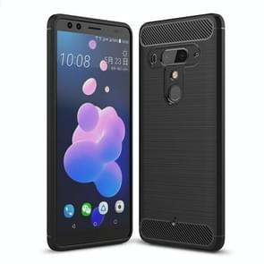 Brushed Texture Carbon Fiber Shockproof TPU Case for HTC U12+(Black)