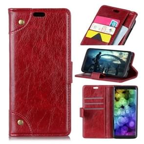 Copper Buckle Nappa Texture Horizontal Flip Leather Case for HTC U12 Life, with Holder & Card Slots & Wallet (Wine Red)
