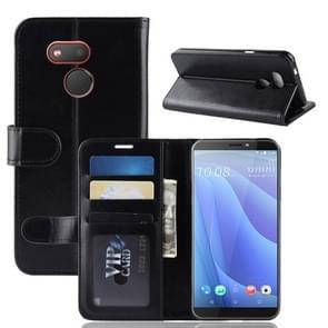 R64 Textuur enkele vouw horizontaal flip lederen Case voor HTC Desire 12S  met houder & portemonnee & kaartsleuven & Foto Frame(Black)