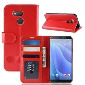 R64 textuur één fold horizontale Flip lederen case voor HTC Desire 12S  met houder & portemonnee & kaartsleuven & fotolijstjes (rood)