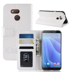R64 Texture Single Fold Horizontal Flip Leather Case for HTC Desire 12S, with Holder & Wallet & Card Slots & Photo Frame(White)