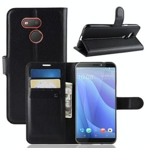 Litchi Texture Horizontal Flip Leather Case for HTC Desire 12S, with Wallet & Holder & Card Slots(Black)