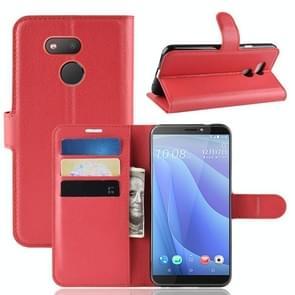 Litchi textuur horizontale Flip lederen case voor HTC Desire 12S  met portemonnee & houder & kaartsleuven (rood)