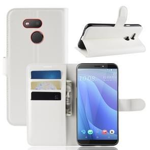 Litchi textuur horizontale Flip lederen case voor HTC Desire 12S  met portemonnee & houder & kaartsleuven (wit)