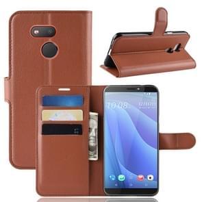 Litchi textuur horizontale Flip lederen case voor HTC Desire 12S  met portemonnee & houder & kaartsleuven (bruin)
