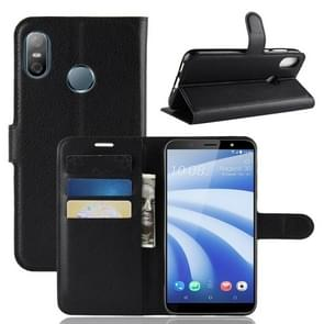 Litchi Texture Horizontal Flip Leather Case for HTC U12 life, with Wallet & Holder & Card Slots(Black)