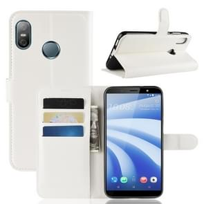 Litchi textuur horizontale Flip lederen draagtas voor HTC U12 Life  met portemonnee & houder & kaartsleuven (wit)