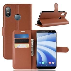 Litchi textuur horizontale Flip lederen draagtas voor HTC U12 Life  met portemonnee & houder & kaartsleuven (bruin)