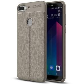 Voor HTC Desire 12 + Litchi textuur zachte TPU beschermende terug Cover Case (grijs)