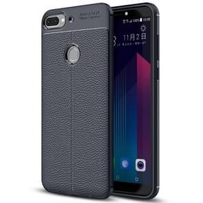 Voor HTC Desire 12 + Litchi textuur zachte TPU beschermende terug Cover Case (marineblauw)