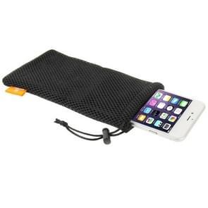 HAWEEL Nylon universele hoes met sluit koord voor iPhone 6 Plus & iPhone 6S Plus / 5.5 inch mobiele telefoon  Afmeting: 18.5cm x 9cm(zwart)