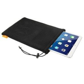 HAWEEL Nylon Mesh Pouch tas met koord blijven voor iPad Air 2 & 1 / iPad 4 / 3 / 2 / 1  formaat: 29cm x 19cm(Black)