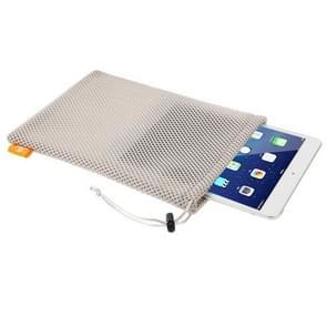HAWEEL Nylon Mesh Pouch tas met koord blijven voor iPad Air 2 & 1 / iPad 4 / 3 / 2 / 1  formaat: 29cm x 19cm(Grey)