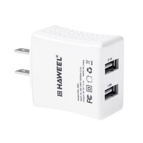 HAWEEL 2 USB Ports Max 3.1A Travel Charger with US Plug, For iPhone, Galaxy, Huawei, Xiaomi, LG, HTC and other Smartphones(White)